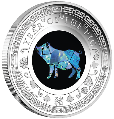 2019 Australia OPAL LUNAR Year of the PIG 1oz Silver Proof Coin NGC PF70 UC ER 5