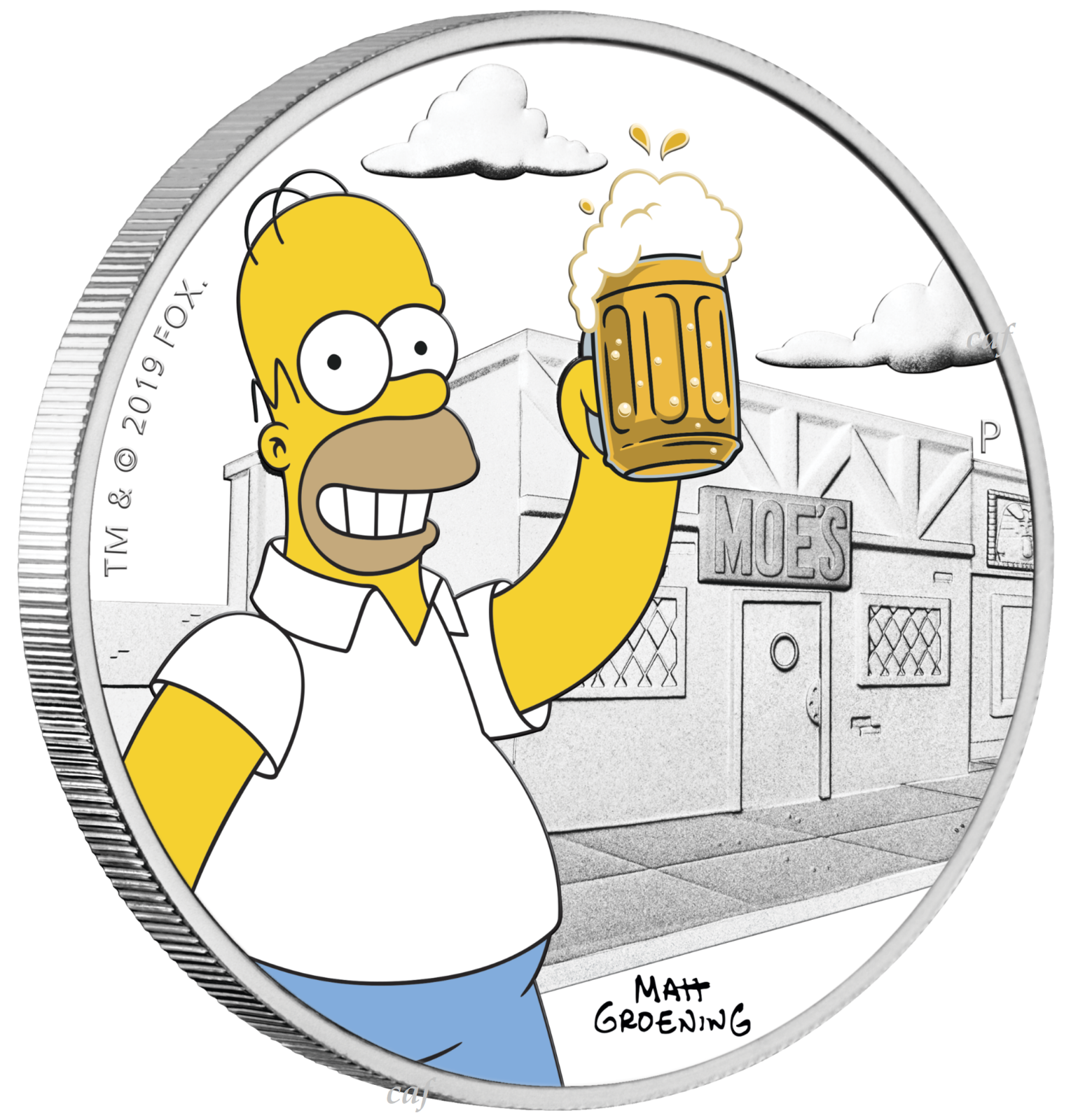 2019 The Simpsons - Homer Simpson 1oz $1 Silver 99.99% Dollar Proof Coin 5