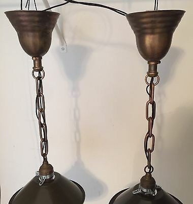 "19""  Long Industrial Pendant Light Pair With 8"" Wide Military Green Shades! 3"