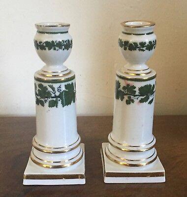 Pair Antique German Meissen Porcelain Candlesticks Green Napoleon Ivy Empire 2