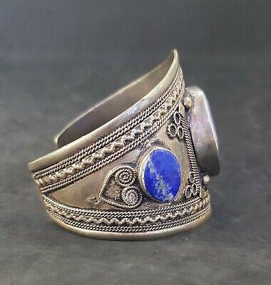 Stunning Afghani Silver plated lapis lazuli Bangle # 5Y 8