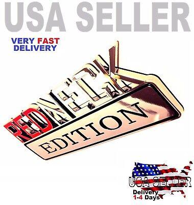 New 2Pcs Silver Redneck Edition Truck Emblem Logo Decal Sign RED Neck Chrome Letter