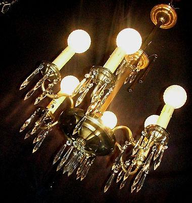 Vintage Art Deco Victorian Brass Crystals Chandelier Ceiling Light Fixture 20's 2