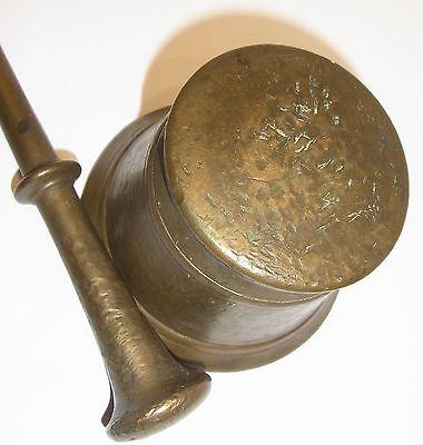 Alter Mörser + Stößel ( Pistill ), Messing / Bronze, ca H 8cm, Dm 11,5cm,1550 g 5