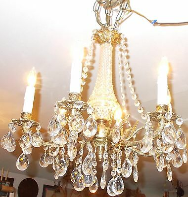Spectacular Antique  Brass 6 Embossed Arm Chandelier 8