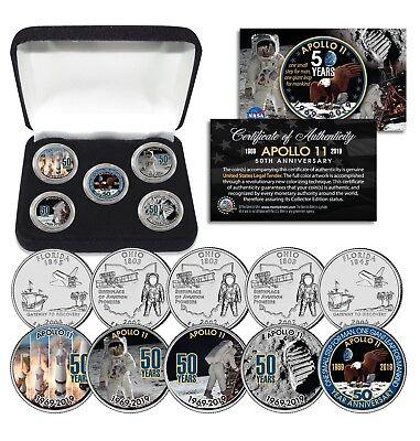APOLLO 11 50th Anniversary Man on Moon State FL & OH Quarters 5-Coin Set w/ Box 3