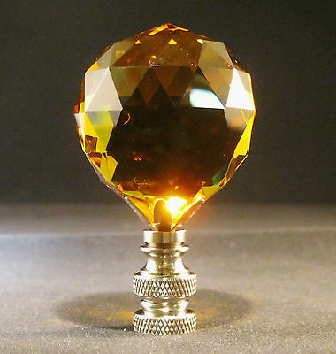 Lamp Finial-Lite Amber Leaded Crystal Lamp Finial-Satin Nickel Base 4