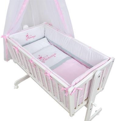 Wiege Schaukelwiege Babywiege Holz Weiß Bettset Princess Prinzessin komplett
