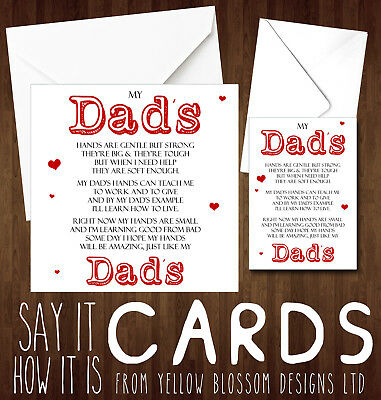 DADDY BIRTHDAY FATHERS Day Christmas Card Poem Dad Father Cute Son Daughter  Love