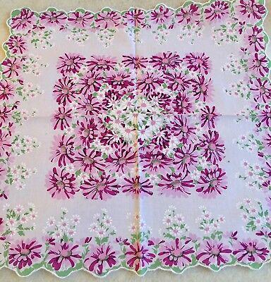 Stunning New Magenta DAISIES Handkerchief - LuRay Hankie!