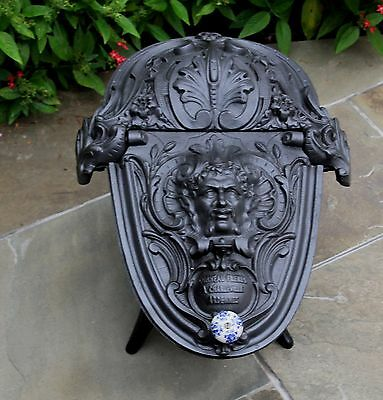 Antique French Gothic Victorian Cast Iron Fireplace Hearth Coal Hod Scuttle 10