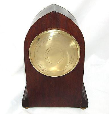 Antique Brass Inlaid Mahogany Miniature Bracket Mantel Clock CLEANED & SERVICED 10