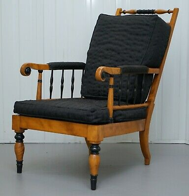 Antique Satin Birch Wood Swedish Biedermeier Library Reading Armchair Ebonished 3