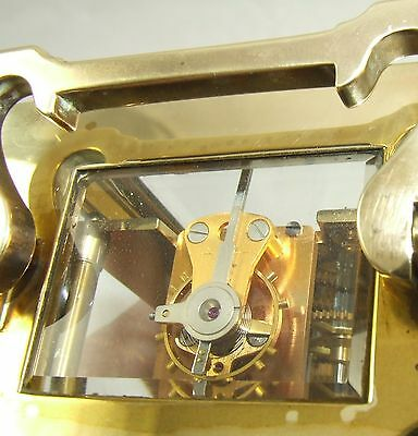 MAPPIN & WEBB Brass Carriage Mantel Clock Timepiece with Key  Working Order (61) 7