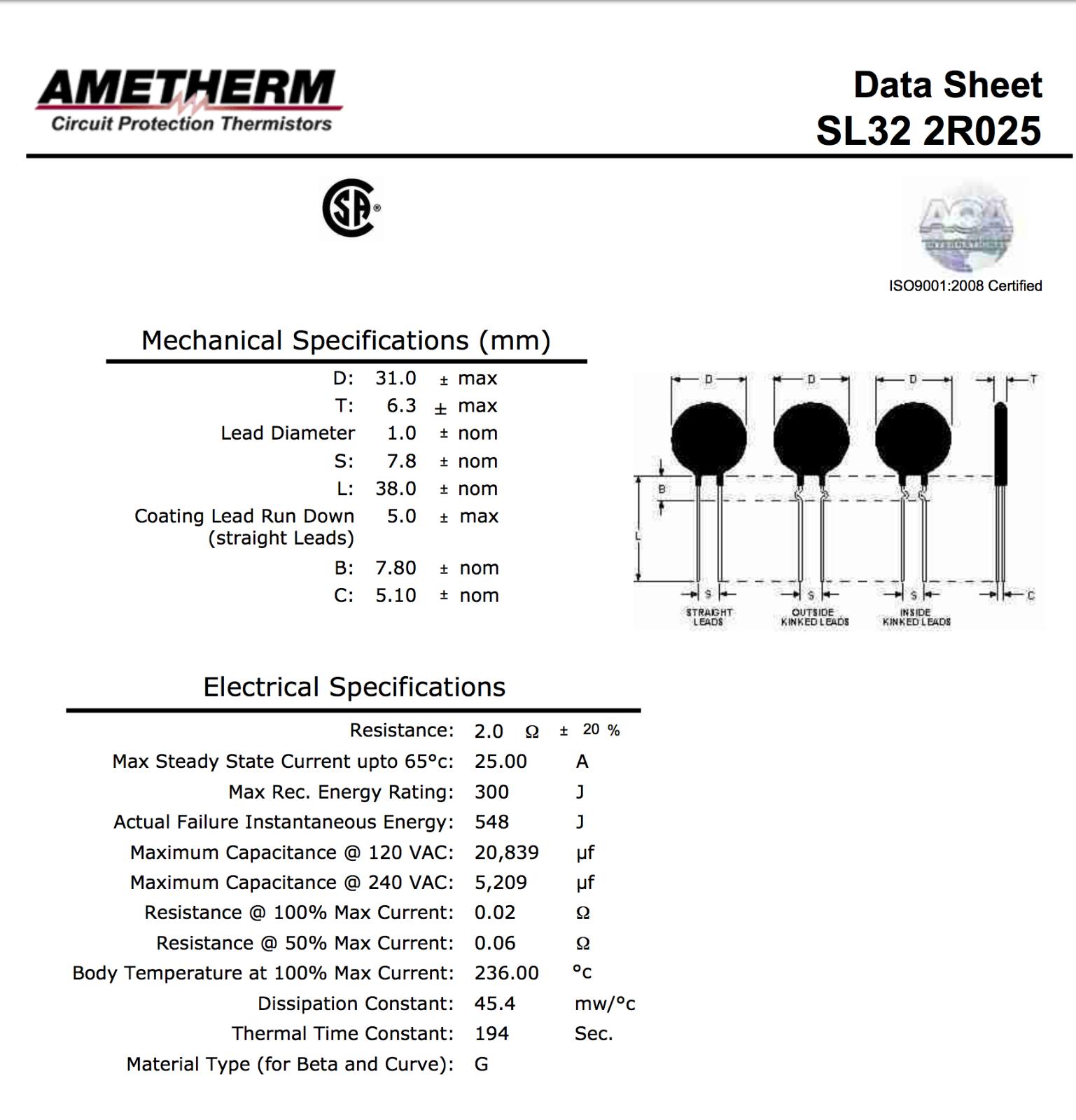 AMETHERM SL32 2R025 Thermistor Aqua-Rite Repair