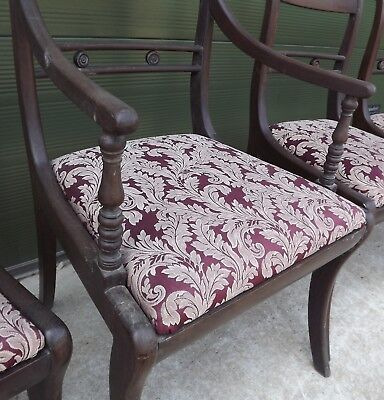 Set of 4 Antique Regency Mahogany Dining Chairs, One Carver, Need Restoration 2