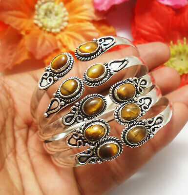 Tigers Eye Gemstone Cuff Bracelet 925 Sterling Silver Plated Jewelry 2