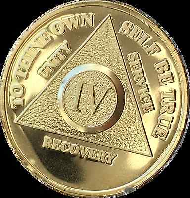 3 Year Alcoholics Anonymous AA 24k Gold Plated Medallion Chip Sobriety Coin