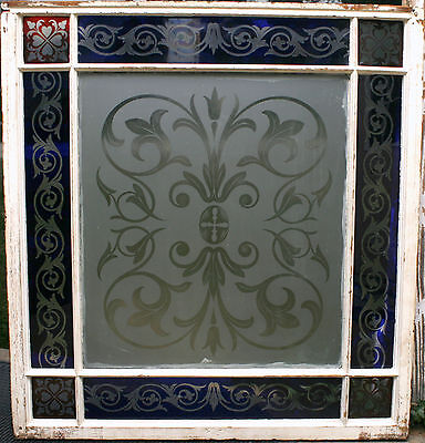 c1850 two glass window, cut glass to clear ruby, cobalt, clear, heart, tulip, 7' 7