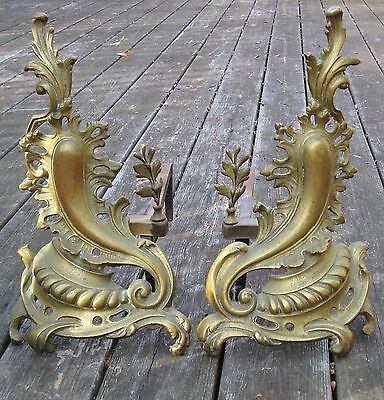 Antique 19th Century Bronze Brass French Louise XV Flames Fireplace Andirons 5