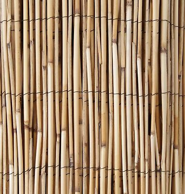 Natural Peeled Reed Screening Roll Garden Screen Fence Fencing Panel Wooden 4m 6