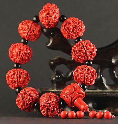 China old natural red jade cinnabar bangle Chinese jade beads Bracelet a26 3