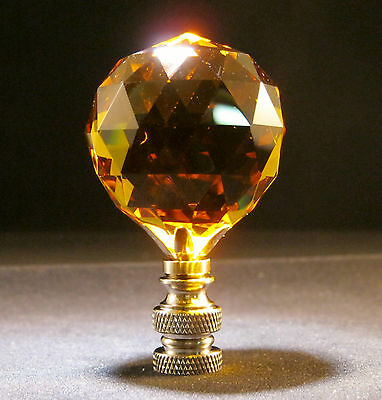 Lamp Finial-Lite Amber Leaded Crystal Lamp Finial-Satin Nickel Base 5