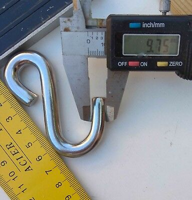 2 pcs of 10mm Stainless Steel S Hook - Boat, Marine, Shade Sail, Winch, Rigging