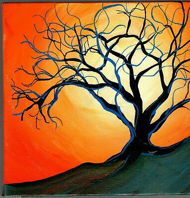 Bright Sun and Tree Acrylic Landscape Painting on Canvas Signed Mary Loos 3