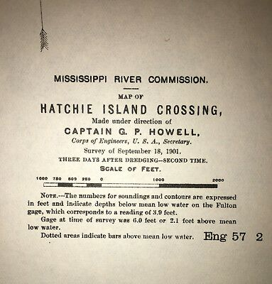 1901 Map of Hatchie Island Crossing TN Dredged Area US Light MS River Commission 2