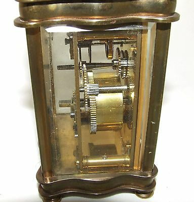 Antique French Bronzed Finish Brass Carriage Clock with Key : Working Order (31) 8