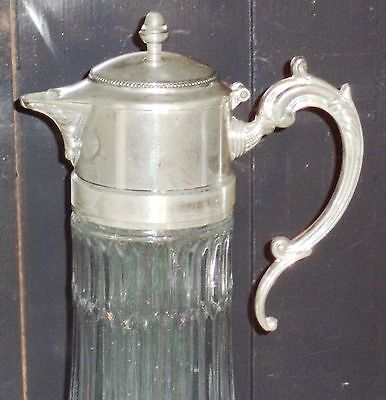 "Antique Silver ""Italy EP Zinc"" 14in Wine Claret / Water Pitcher w Hot/Cold tube 2"
