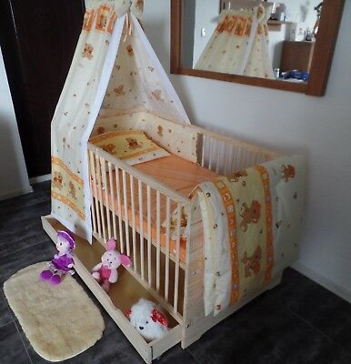 Babybett Gitterbett Kinderbett Komplet Set 70x140 UMBAUBAR 5 Farben Schublade 2