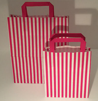 FLAT STRIPE Handle Coloured Paper Bags For Parties & Christmas Bags 5