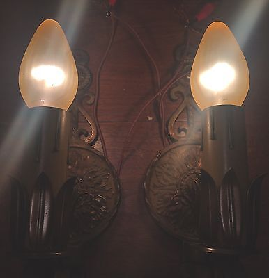 Brass Sconces Vintage Antique Wired Matched Pair Lights Lighting Fixtures 4