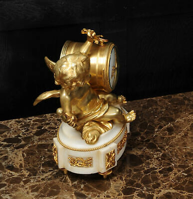 ORMOLU & WHITE MARBLE ANTIQUE FRENCH CLOCK PUTTO in CLOUDS PLAYING a DRUM C1880 10