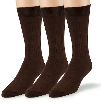 EMEM Men's Ribbed Cotton Classic Crew Dress Socks 3-Pack, Big and Tall Available 3