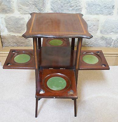 Antique Side Table Inlaid Mahogany Sweetheart Tapered Legs Fold Out Sides Rare 7
