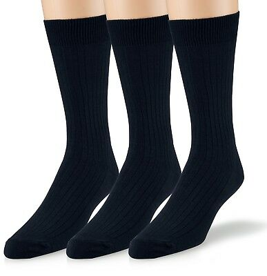 EMEM Men's Ribbed Cotton Classic Crew Dress Socks 3-Pack, Big and Tall Available 6