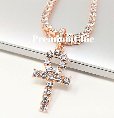 ANKH Cross Pendant Tennis Chain 14K Silver Gold Rose Hip Hop Bling Necklace 9
