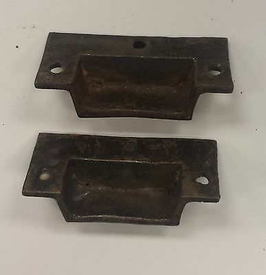 4 Mini DRAWER PULLS/EMBOSSED CAST IRON/VICTORIAN STYLE (#1) 3