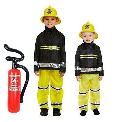 Girls Firefighter Uniform Emergency Services Fancy Dress Costume Childs Outfit