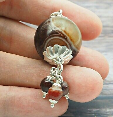 Old Eye Agate Indus Valley Sterling Silver Small Ancient Eye Agate Bead Pendant 8