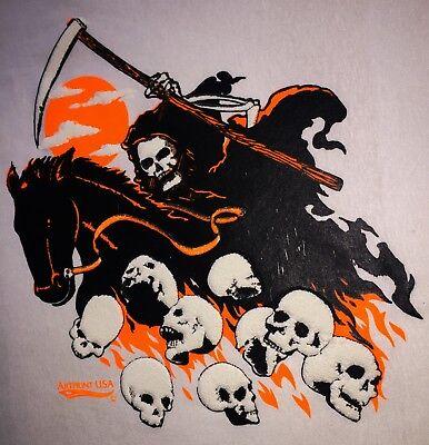 Vintage 80s RAGING METAL Mad skull skate punk death metal rage mosh pit retro tee T-Shirt size Medium paper thin single stitch NOS