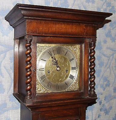 Antique Oak Grandmother / Miniature Grandfather Clock : Weight Driven Movement 3