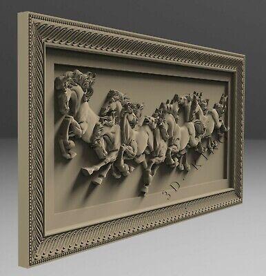 3D STL Model # HORSES IN MOTION # for CNC Aspire Carving 3D Printer Engraving 3
