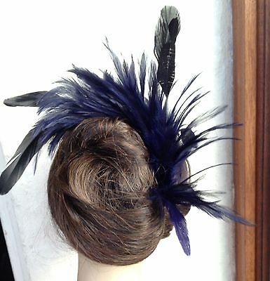 navy blue feather comb fascinator millinery wedding ascot hat hair piece 2