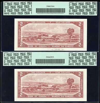2 Consecutive 1954 Bank of Canada $2 Replacement Notes - PCGS Superb Gem 66 & 67 2