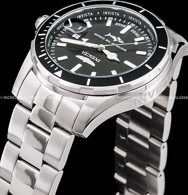 Invicta Mens Pro Diver Swiss Made Black Dial Silver Bracelet SS 44mm Watch 25806 5