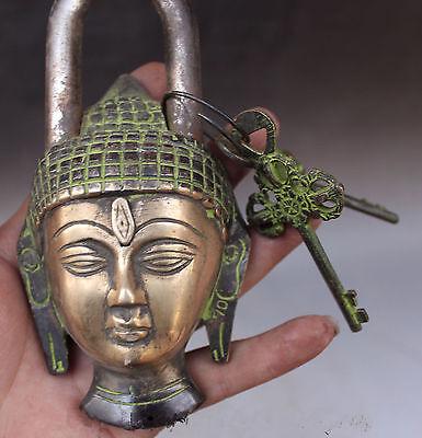 Buddhism Bronze Shakyamuni Sakyamuni Buddha Head Statue lock-up Key mk 2